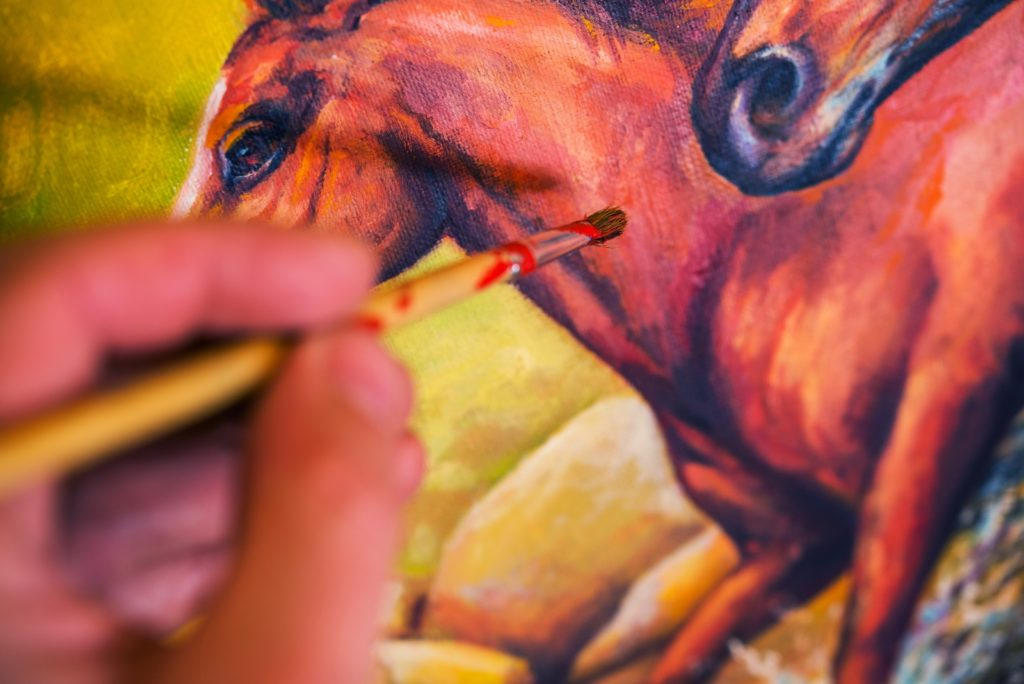 repairing color on a painting