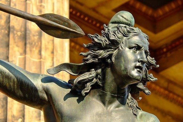 outdoor metal sculpture of warrior